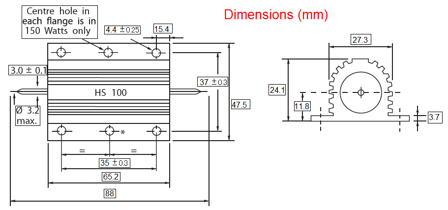 dra HS100 - مقاومت آرکول 200 اهم 100 وات