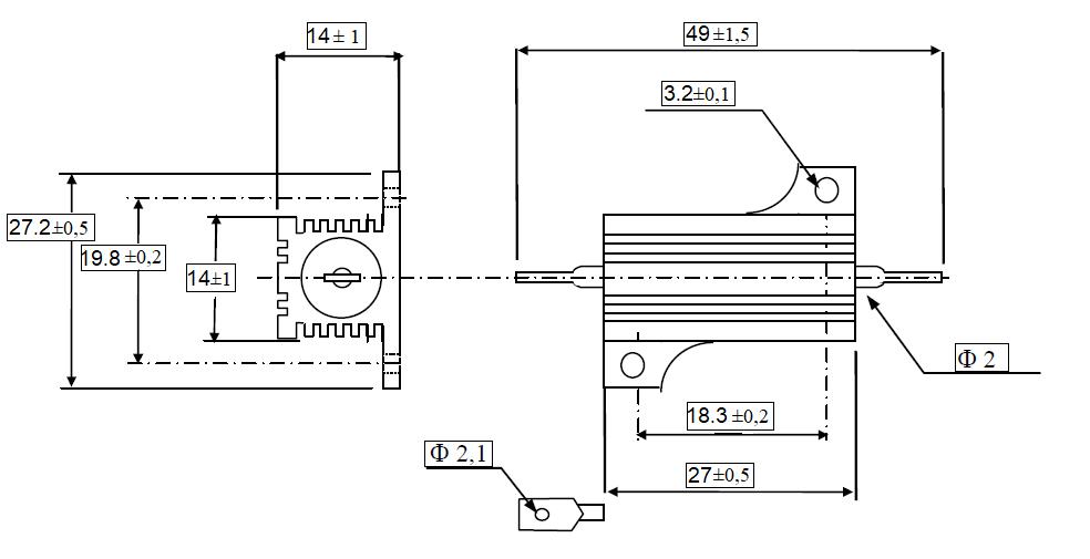dra SIR RHS25 - مقاومت هیت سینک دار 0.1 اهم 25 وات