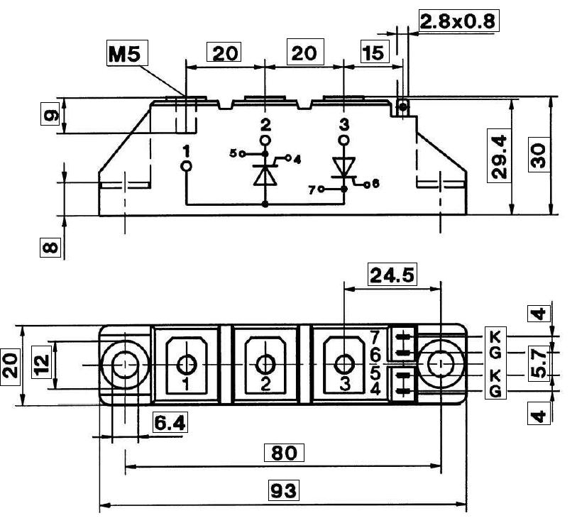 SKKT 106 - دیود تریستور سمیکرون SKKH57