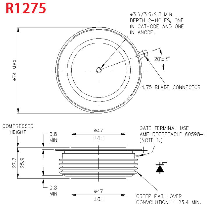 dra R1275 - تریستور R1275NC21L